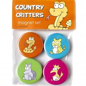 Country Critters Magnet Set- Ocelot, Armadillo, Roadrunner & Rattlesnake