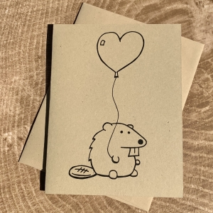 Beaver Card - Beaver with Heart Balloon on kraft cardstock