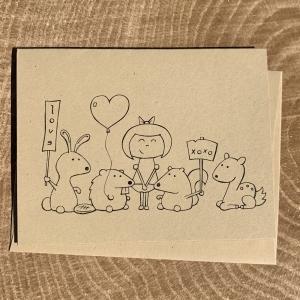Beaver, Bunny, Girl, Squirrel & Deer notecard on kraft cardstock, blank inside