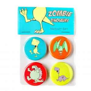 Zombie Dinosaur Magnet Set- T. rex, Brontosaurus, Stegosaurus & Pterosaur