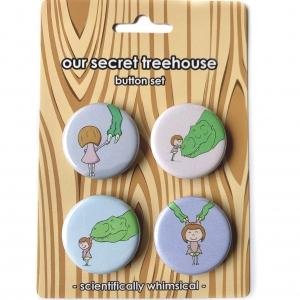 Girl & Rex Button Set- Girl & T. rex Buttons