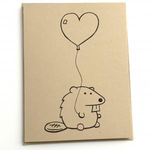 Beaver with a Heart Balloon Notecard