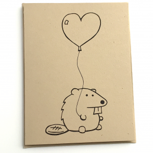 Beaver with a Heart Balloon Notecard