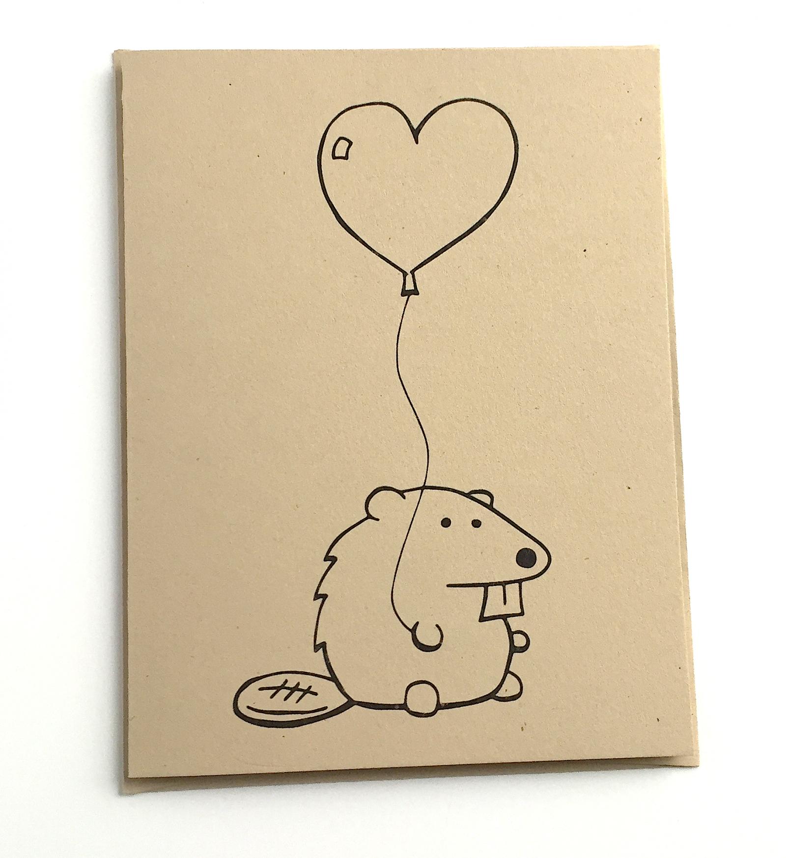 aaa8d3888cca4d Beaver Card - Beaver with Heart Balloon - Woodland Critters Beaver ...